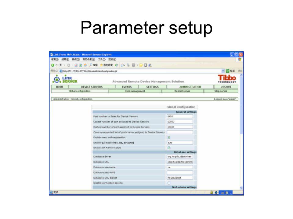 Parameter setup