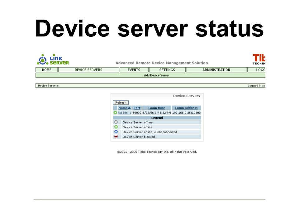 Device server status
