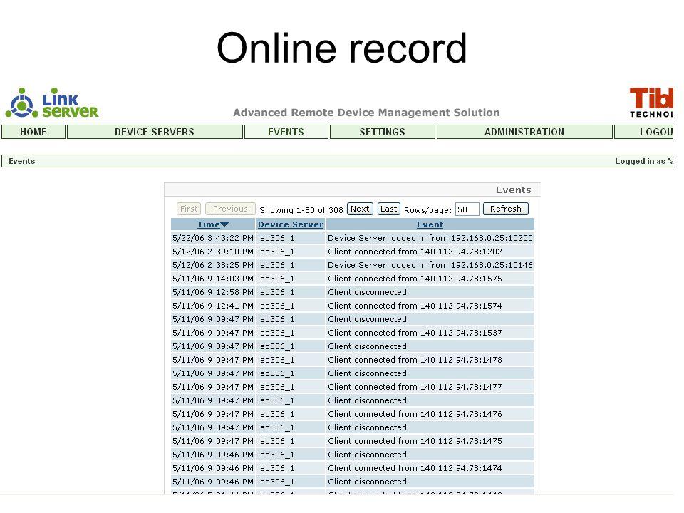 Online record