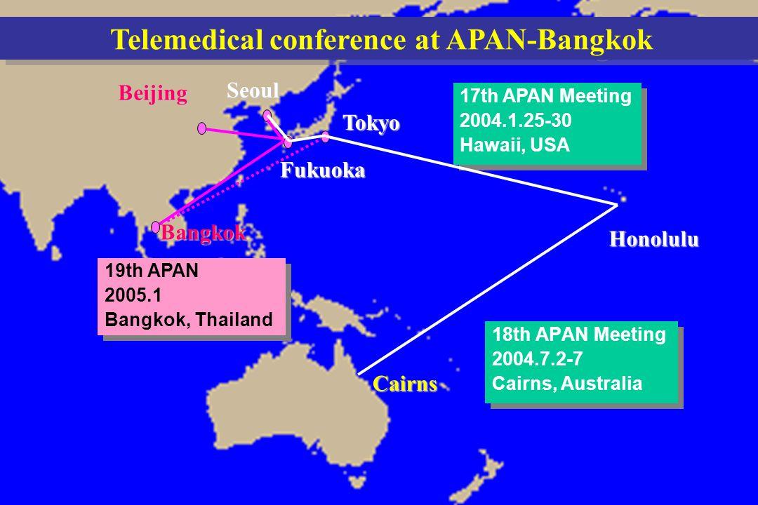 18th APAN Meetings/QUESTnet 2004 in Cairns 18th APAN Meetings/QUESTnet 2004 in Cairns 2004.7.2-7 2004.7.2-7 Cairns, Australia Cairns, Australia 18th APAN Meetings/QUESTnet 2004 in Cairns 18th APAN Meetings/QUESTnet 2004 in Cairns 18th APAN Meetings/QUESTnet 2004 in Cairns 18th APAN Meetings/QUESTnet 2004 in Cairns Fukuoka Telemedical conference at APAN-Bangkok 18th APAN Meeting 2004.7.2-7 Cairns, Australia 18th APAN Meeting 2004.7.2-7 Cairns, Australia 17th APAN Meeting 2004.1.25-30 Hawaii, USA 17th APAN Meeting 2004.1.25-30 Hawaii, USA Cairns Tokyo Honolulu SeoulBeijing 19th APAN 2005.1 Bangkok, Thailand 19th APAN 2005.1 Bangkok, Thailand Bangkok