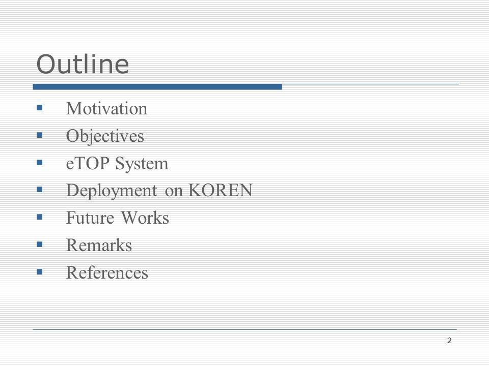 2 Outline Motivation Objectives eTOP System Deployment on KOREN Future Works Remarks References