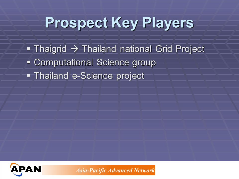 Prospect Key Players Thaigrid Thailand national Grid Project Thaigrid Thailand national Grid Project Computational Science group Computational Science group Thailand e-Science project Thailand e-Science project