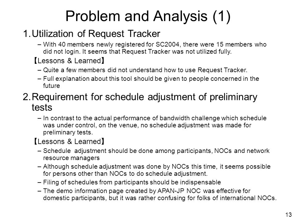 13 Problem and Analysis (1) 1.Utilization of Request Tracker –With 40 members newly registered for SC2004, there were 15 members who did not login.