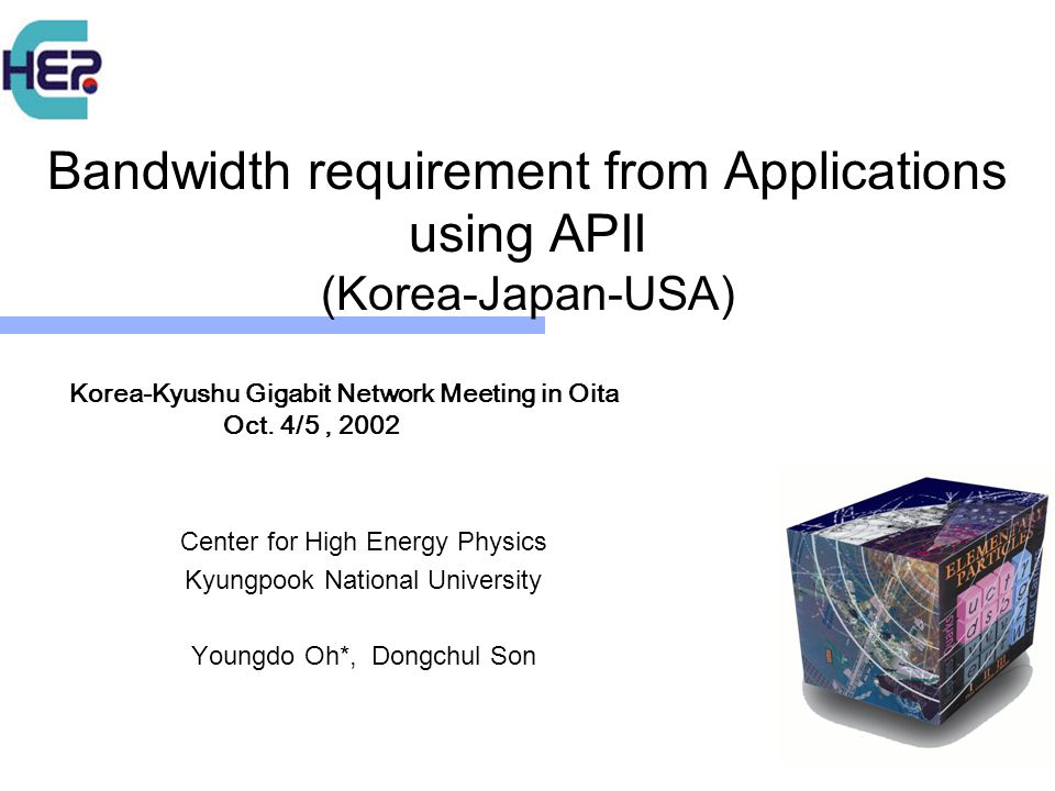 Bandwidth requirement from Applications using APII (Korea-Japan-USA) Center for High Energy Physics Kyungpook National University Youngdo Oh*, Dongchul Son Korea-Kyushu Gigabit Network Meeting in Oita Oct.