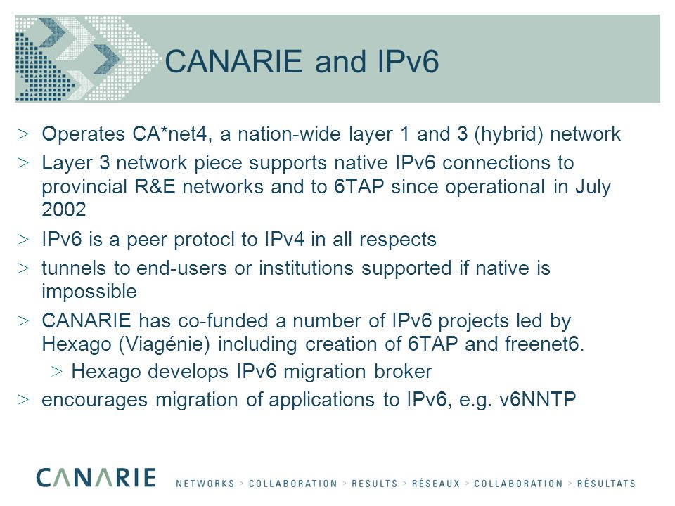 CANARIE and IPv6 > Operates CA*net4, a nation-wide layer 1 and 3 (hybrid) network > Layer 3 network piece supports native IPv6 connections to provincial R&E networks and to 6TAP since operational in July 2002 > IPv6 is a peer protocl to IPv4 in all respects > tunnels to end-users or institutions supported if native is impossible > CANARIE has co-funded a number of IPv6 projects led by Hexago (Viagénie) including creation of 6TAP and freenet6.