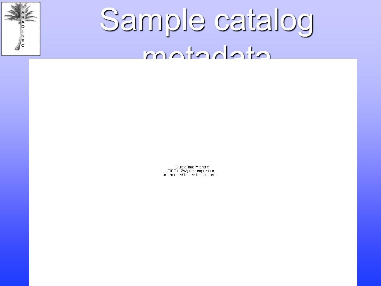 Sample catalog metadata