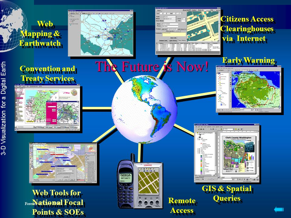 3-D Visualization for a Digital Earth Foresman 3 July 2004 A Global Network User Scenarios: The World Watches Mozambique Floods Floodings effects on s