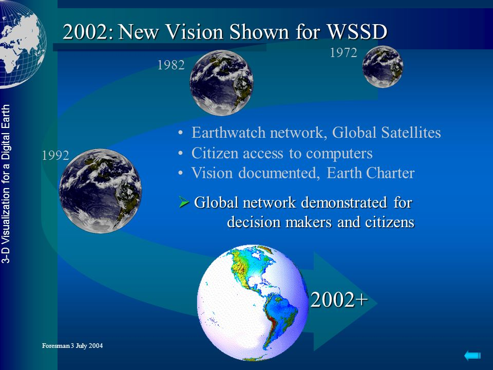 3-D Visualization for a Digital Earth Foresman 3 July 2004 2002: New Vision Shown for WSSD Earthwatch network, Global Satellites Citizen access to computers Vision documented, Earth Charter Global network demonstrated for decision makers and citizens Global network demonstrated for decision makers and citizens 2002+ 1972 1982 1992