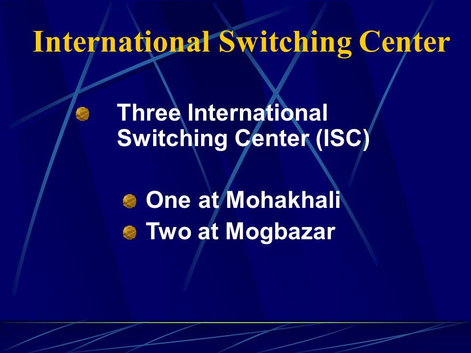 International Switching Center Three International Switching Center (ISC) One at Mohakhali Two at Mogbazar