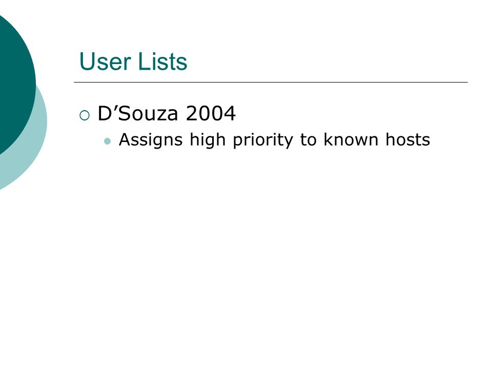 User Lists DSouza 2004 Assigns high priority to known hosts