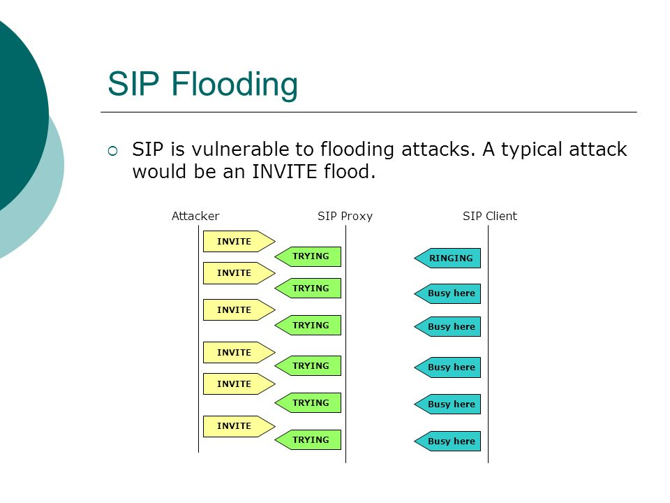 SIP Flooding SIP is vulnerable to flooding attacks.