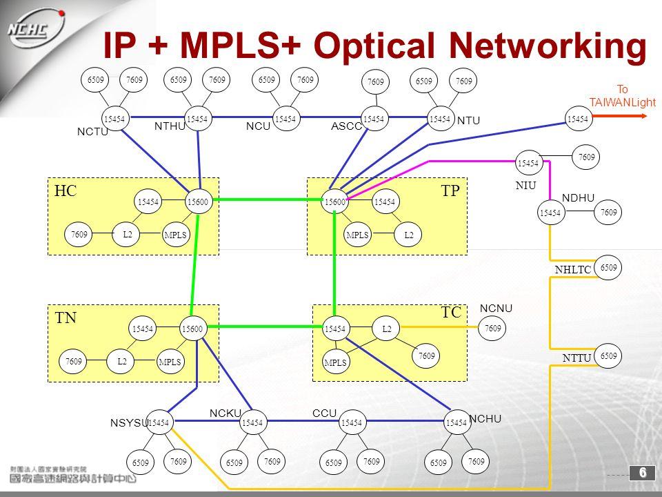 6 MPLS IP + MPLS+ Optical Networking TC TP TN L215454 7609 MPLS 15600 15454 L215454 7609 15454 7609 15454 7609 15454 7609 15454 7609 15454 7609 15454 7609 MPLS 15600 15454 L2 MPLS 15600 15454 L2 HC 15454 7609 15454 6509 15454 7609 NCKU NSYSU CCU NCHU NCNU NDHU NTHU NCTU ASCCNCU NHLTC NTTU NIU NTU 7609 To TAIWANLight 6509