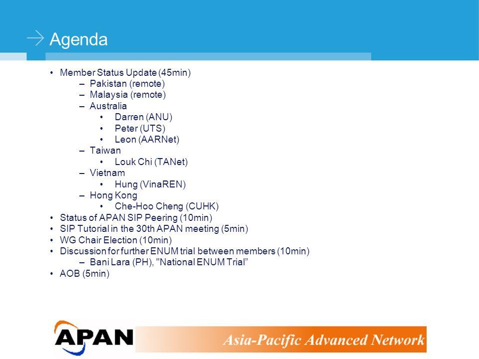 ©Stephen Kingham Agenda Member Status Update (45min) –Pakistan (remote) –Malaysia (remote) –Australia Darren (ANU) Peter (UTS) Leon (AARNet) –Taiwan Louk Chi (TANet) –Vietnam Hung (VinaREN) –Hong Kong Che-Hoo Cheng (CUHK) Status of APAN SIP Peering (10min) SIP Tutorial in the 30th APAN meeting (5min) WG Chair Election (10min) Discussion for further ENUM trial between members (10min) –Bani Lara (PH), National ENUM Trial AOB (5min)