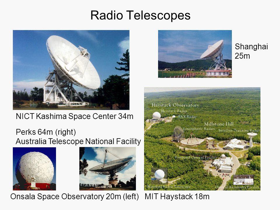 Radio Telescopes NICT Kashima Space Center 34m Onsala Space Observatory 20m (left) Perks 64m (right) Australia Telescope National Facility MIT Haystac