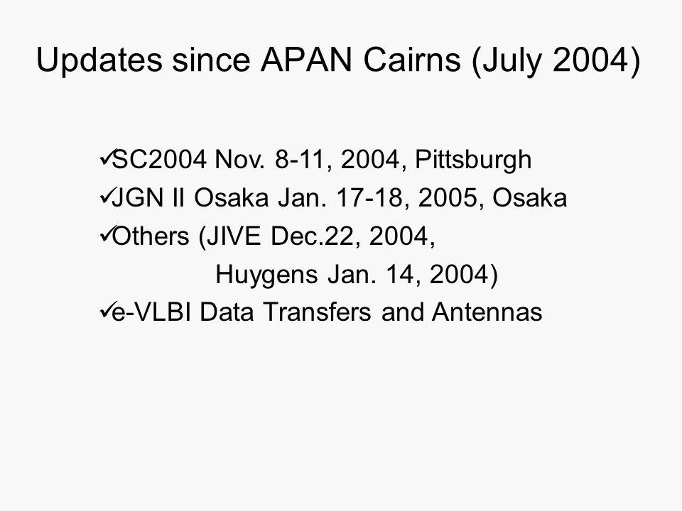 Updates since APAN Cairns (July 2004) SC2004 Nov. 8-11, 2004, Pittsburgh JGN II Osaka Jan. 17-18, 2005, Osaka Others (JIVE Dec.22, 2004, Huygens Jan.