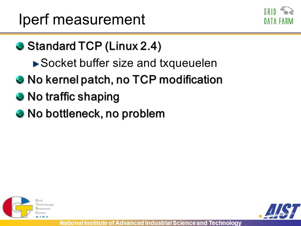 National Institute of Advanced Industrial Science and Technology Iperf measurement Standard TCP (Linux 2.4) Socket buffer size and txqueuelen No kernel patch, no TCP modification No traffic shaping No bottleneck, no problem