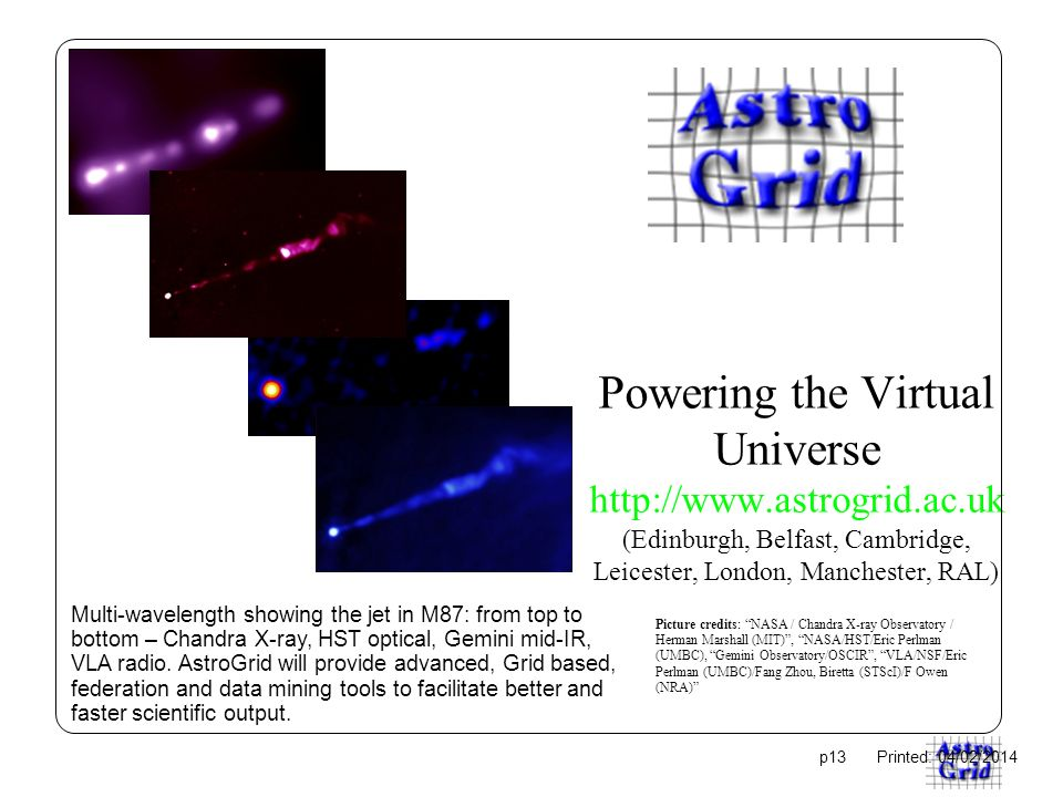 Powering the Virtual Universe   (Edinburgh, Belfast, Cambridge, Leicester, London, Manchester, RAL) Multi-wavelength showing the jet in M87: from top to bottom – Chandra X-ray, HST optical, Gemini mid-IR, VLA radio.