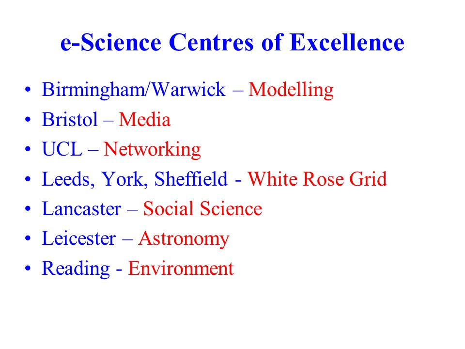 e-Science Centres of Excellence Birmingham/Warwick – Modelling Bristol – Media UCL – Networking Leeds, York, Sheffield - White Rose Grid Lancaster – Social Science Leicester – Astronomy Reading - Environment