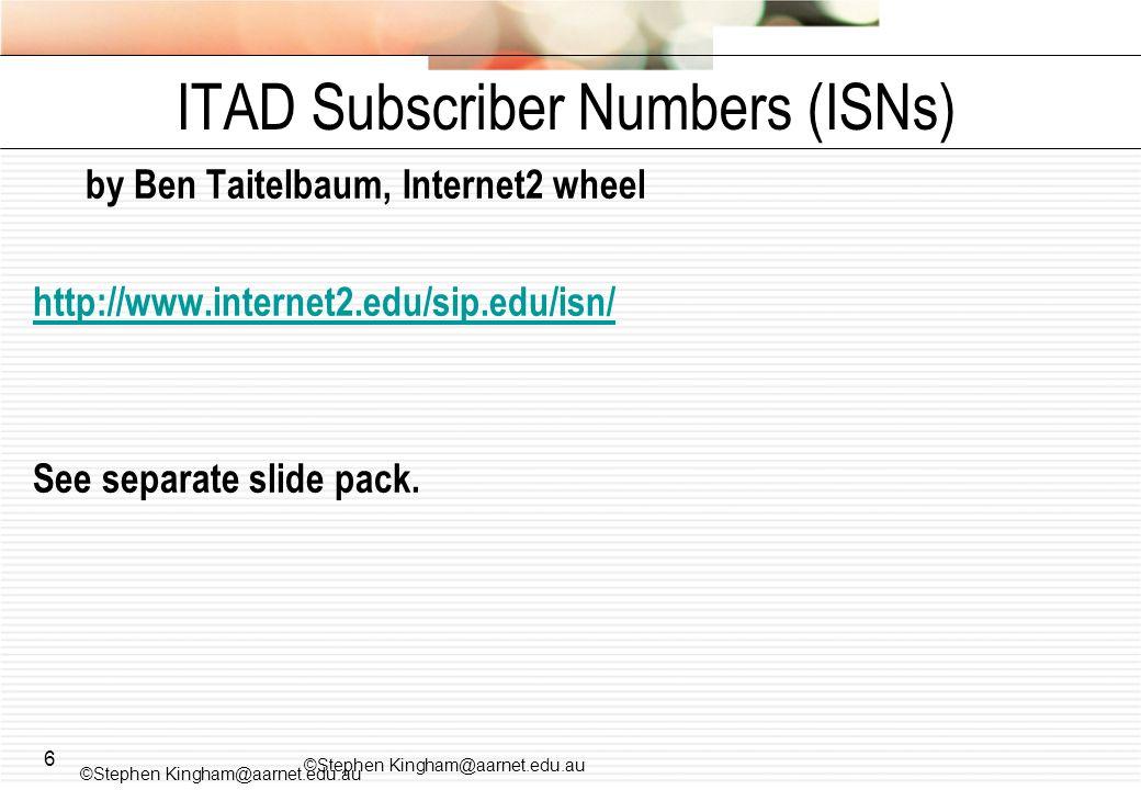 6 by Ben Taitelbaum, Internet2 wheel http://www.internet2.edu/sip.edu/isn/ See separate slide pack.