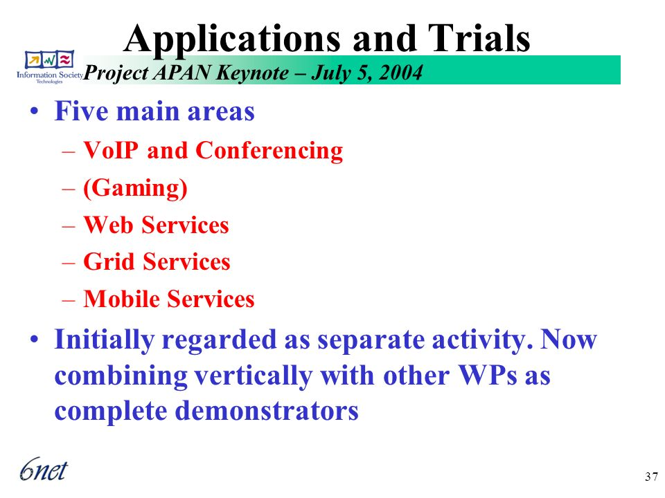 Project APAN Keynote – July 5, 2004 37 Applications and Trials Five main areas –VoIP and Conferencing –(Gaming) –Web Services –Grid Services –Mobile Services Initially regarded as separate activity.