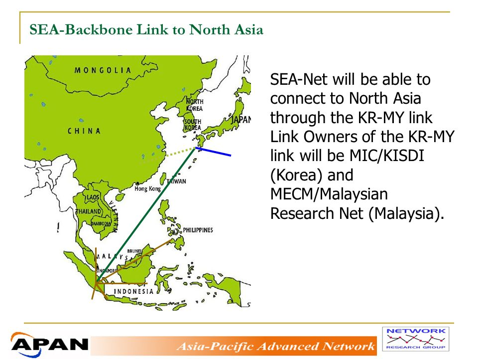 SEA-Backbone Link to North Asia SEA-Net will be able to connect to North Asia through the KR-MY link Link Owners of the KR-MY link will be MIC/KISDI (Korea) and MECM/Malaysian Research Net (Malaysia).