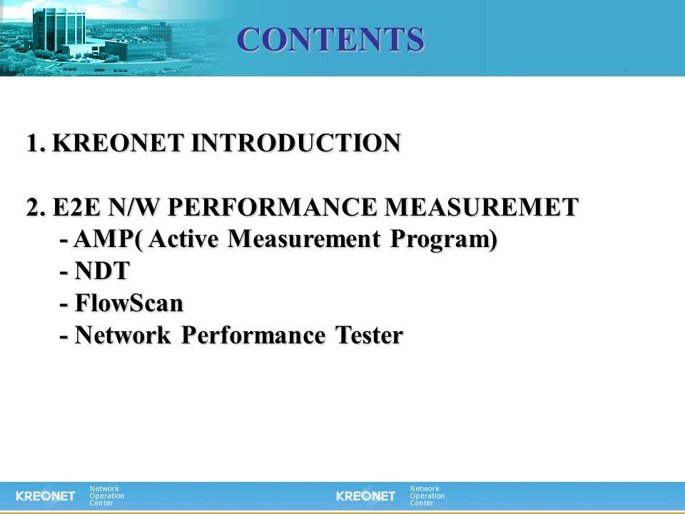 CONTENTS 1.KREONET INTRODUCTION 2. E2E N/W PERFORMANCE MEASUREMET - AMP( Active Measurement Program) - AMP( Active Measurement Program) - NDT - NDT -