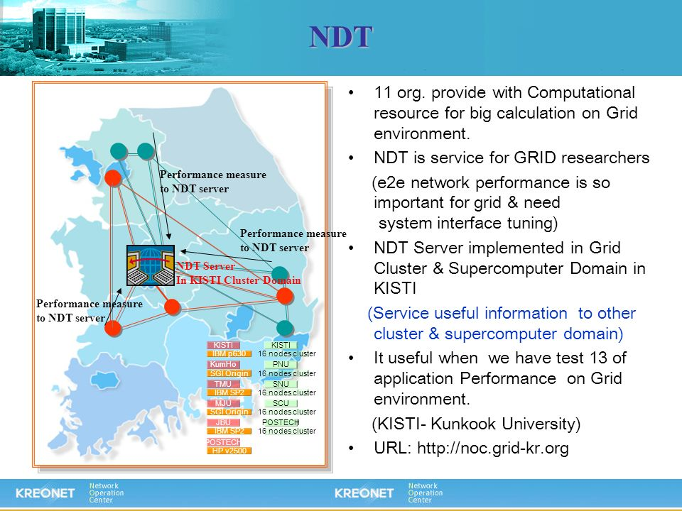 NDT 11 org. provide with Computational resource for big calculation on Grid environment. NDT is service for GRID researchers (e2e network performance