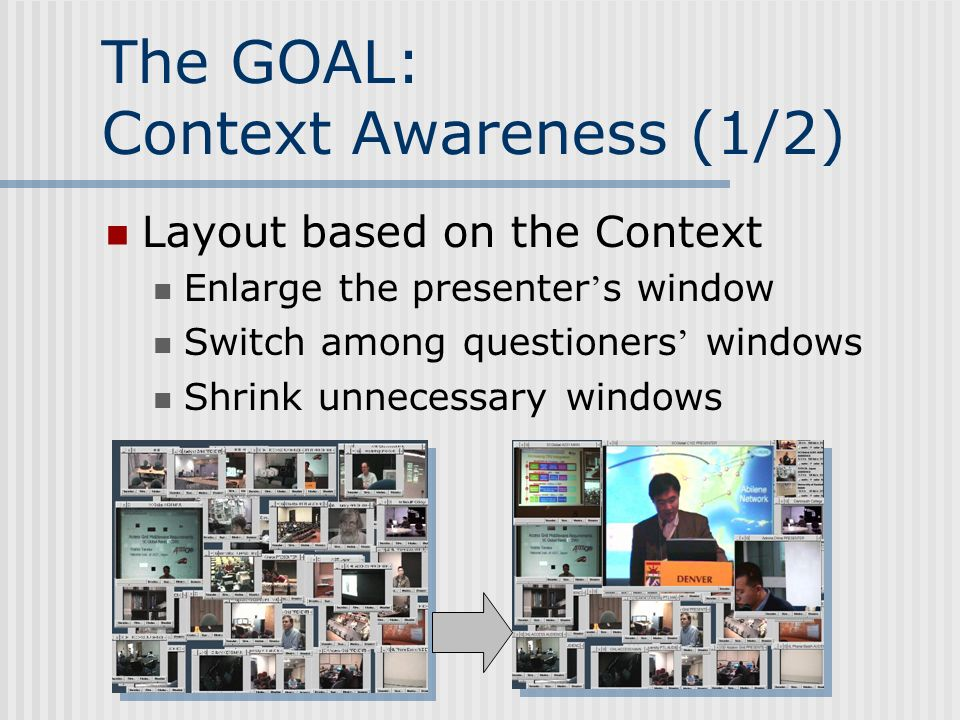 The GOAL: Context Awareness (1/2) Layout based on the Context Enlarge the presenter s window Switch among questioners windows Shrink unnecessary windows
