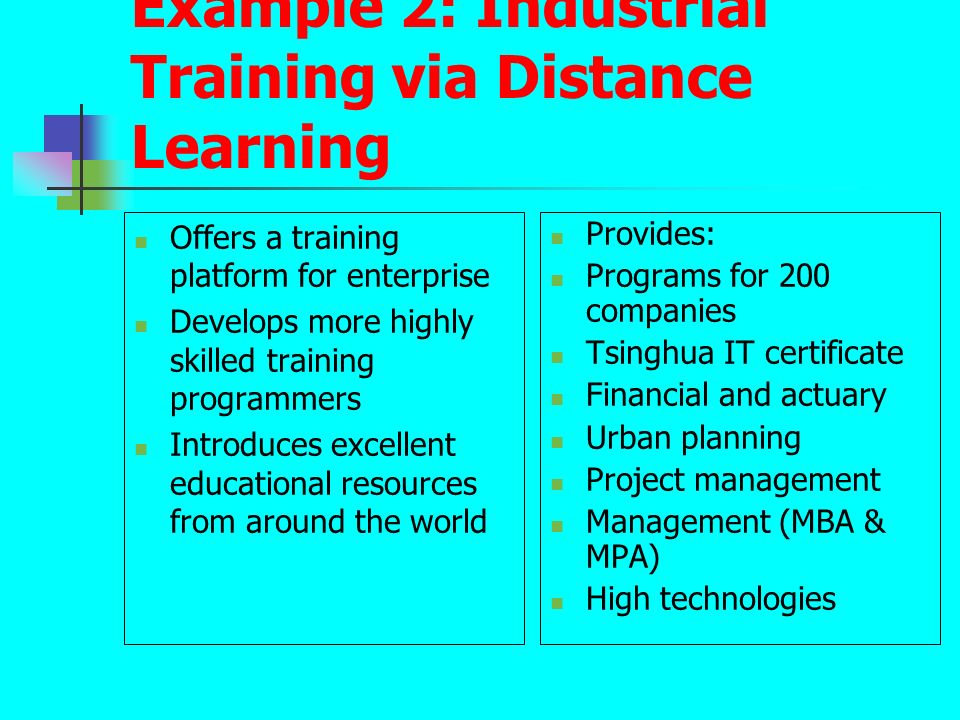 Example 2: Industrial Training via Distance Learning Offers a training platform for enterprise Develops more highly skilled training programmers Intro