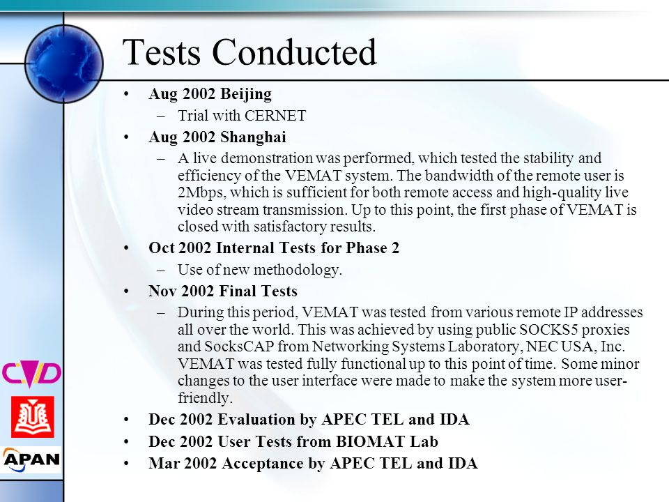 Tests Conducted Aug 2002 Beijing –Trial with CERNET Aug 2002 Shanghai –A live demonstration was performed, which tested the stability and efficiency o