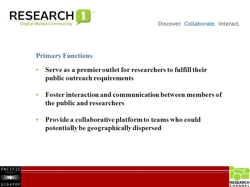 15 Serve as a premier outlet for researchers to fulfill their public outreach requirements Foster interaction and communication between members of the public and researchers Provide a collaborative platform to teams who could potentially be geographically dispersed Primary Functions