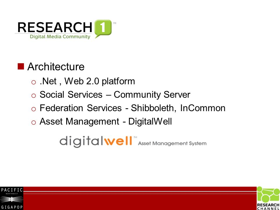 Architecture o.Net, Web 2.0 platform o Social Services – Community Server o Federation Services - Shibboleth, InCommon o Asset Management - DigitalWell