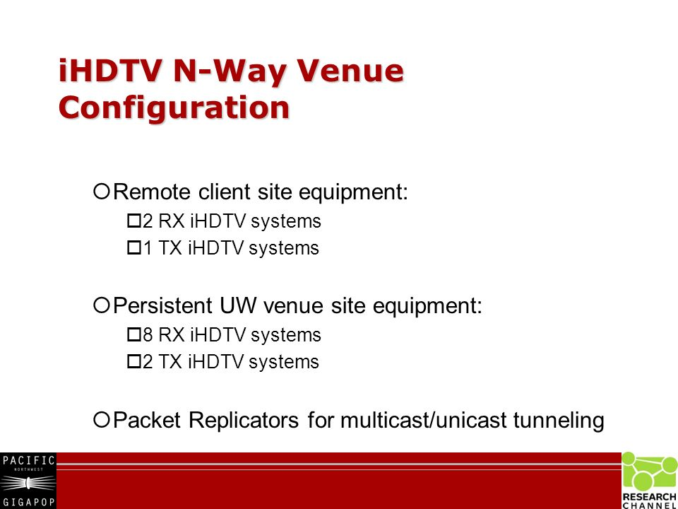 iHDTV N-Way Venue Configuration Remote client site equipment: 2 RX iHDTV systems 1 TX iHDTV systems Persistent UW venue site equipment: 8 RX iHDTV systems 2 TX iHDTV systems Packet Replicators for multicast/unicast tunneling
