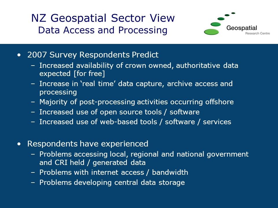 NZ GIS Lectures 2008 Access GRID The Academic geospatial community in New Zealand has run a country-wide lecture series each month this year via Access GRID Guest lecturers speaking on a range of topics Students and staff from 6 Universities in attendance Academics are also now starting to share teaching materials and exploring opportunities for greater collaboration