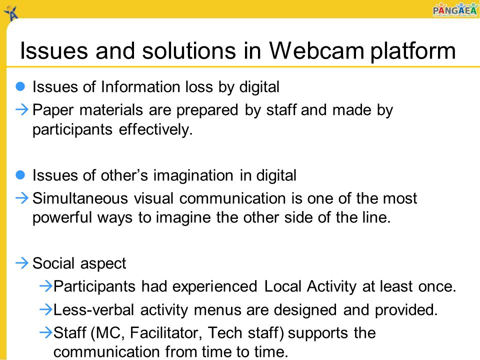 Issues and solutions in Webcam platform Issues of Information loss by digital Paper materials are prepared by staff and made by participants effectively.
