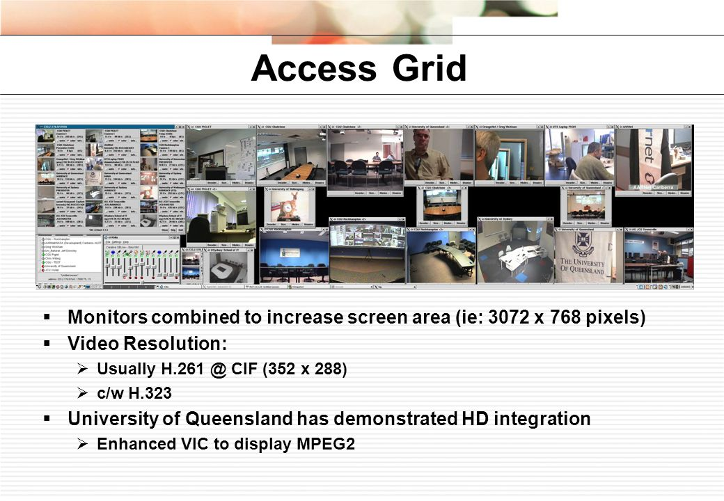 Access Grid Monitors combined to increase screen area (ie: 3072 x 768 pixels) Video Resolution: Usually CIF (352 x 288) c/w H.323 University of Queensland has demonstrated HD integration Enhanced VIC to display MPEG2