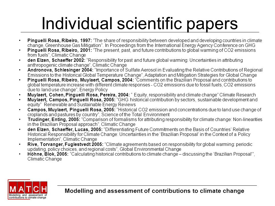 Individual scientific papers Pinguelli Rosa, Ribeiro, 1997: The share of responsibility between developed and developing countries in climate change, Greenhouse Gas Mitigation.