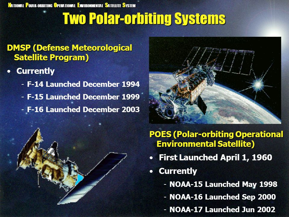 N ATIONAL P OLAR-ORBITING O PERATIONAL E NVIRONMENTAL S ATELLITE S YSTEM Two Polar-orbiting Systems POES (Polar-orbiting Operational Environmental Sat