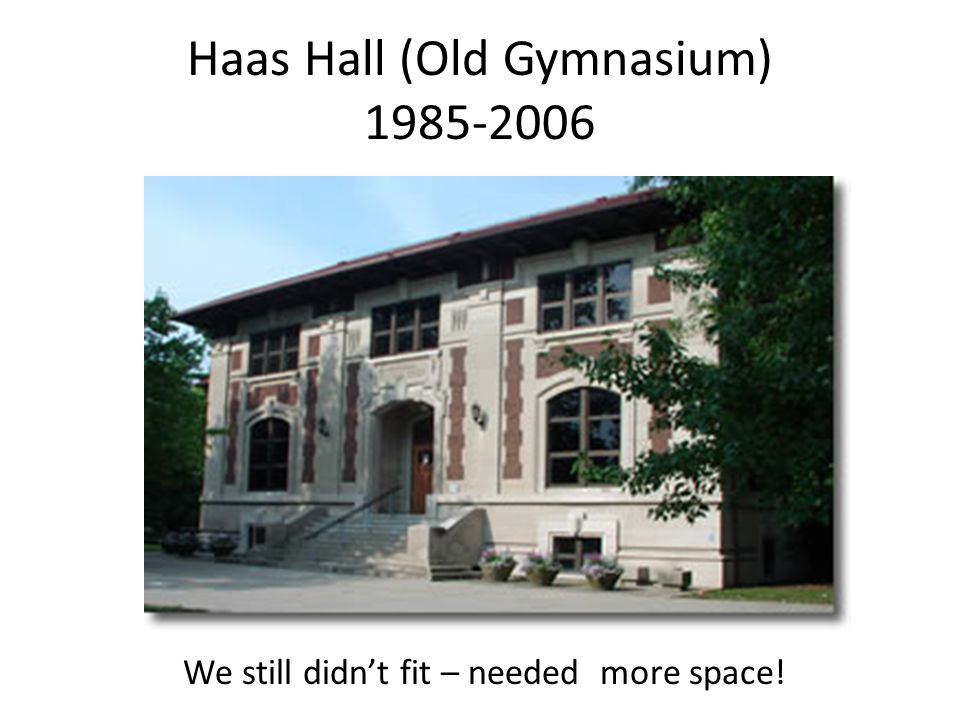 Haas Hall (Old Gymnasium) 1985-2006 We still didnt fit – needed more space!