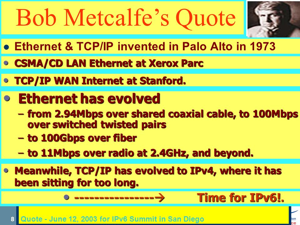7 Conclusions at US IPv6 Summit Washington Oct 2000 IPv6 is under-hyped (for what it really will do) Bob Kahn I Industry cannot make it happen D DOD must return to leadership