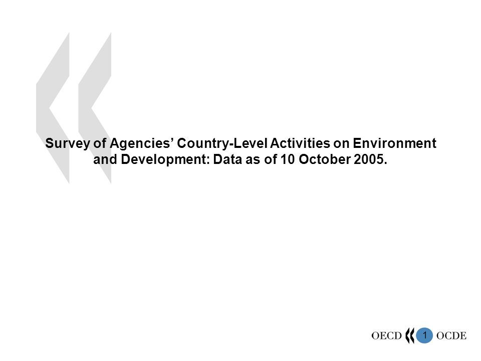 1 Survey of Agencies Country-Level Activities on Environment and Development: Data as of 10 October 2005.