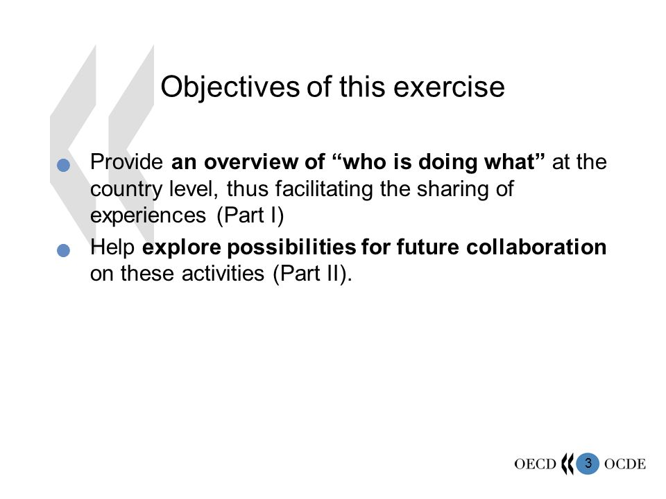 3 Objectives of this exercise Provide an overview of who is doing what at the country level, thus facilitating the sharing of experiences (Part I) Help explore possibilities for future collaboration on these activities (Part II).