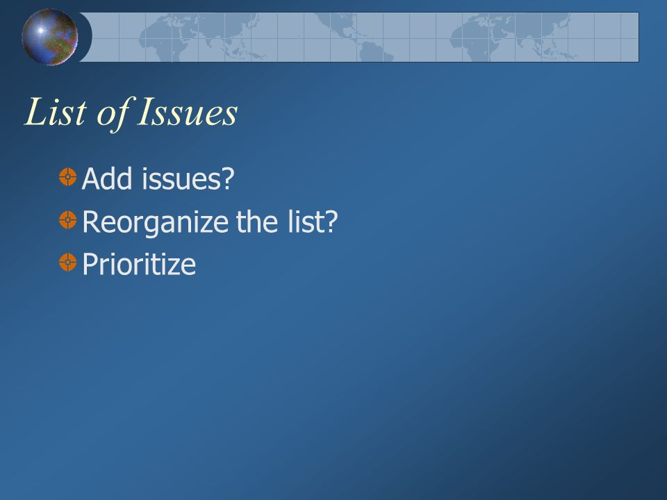 List of Issues Add issues Reorganize the list Prioritize
