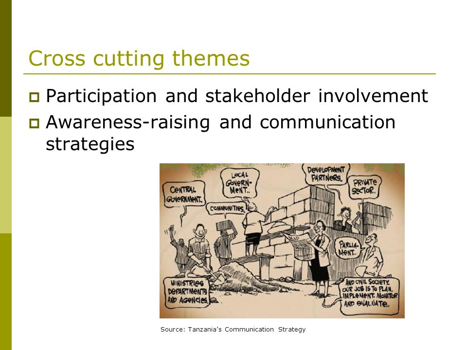 Cross cutting themes Participation and stakeholder involvement Awareness-raising and communication strategies Source: Tanzanias Communication Strategy