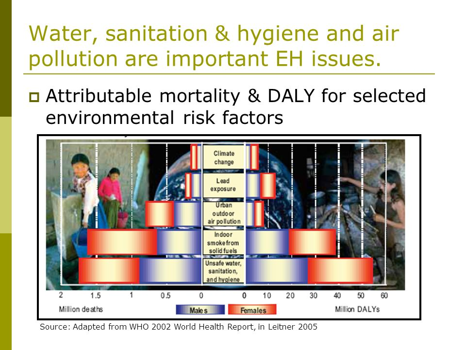 Water, sanitation & hygiene and air pollution are important EH issues. Attributable mortality & DALY for selected environmental risk factors Source: A