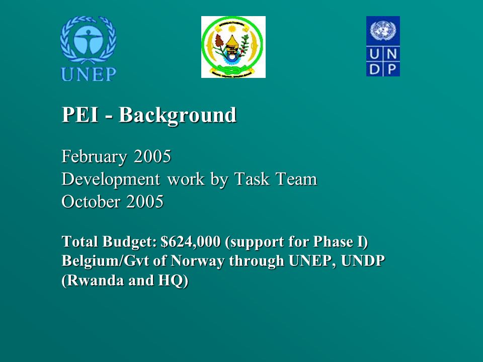 PEI - Background February 2005 Development work by Task Team October 2005 Total Budget: $624,000 (support for Phase I) Belgium/Gvt of Norway through U