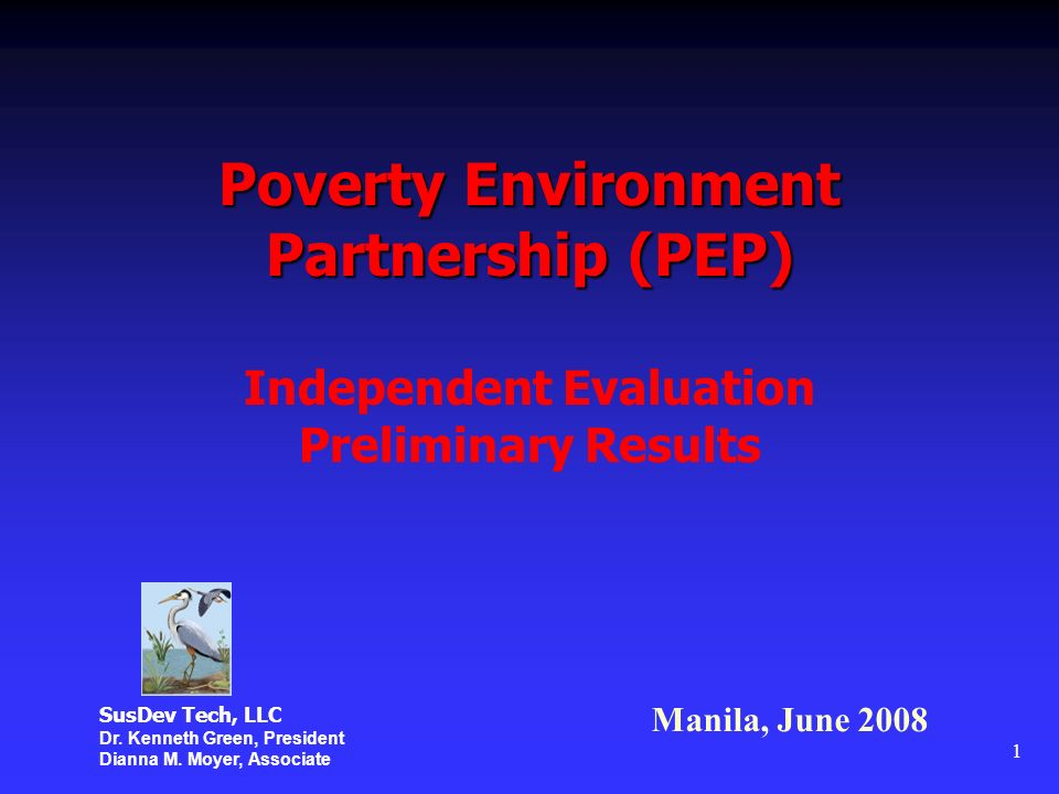 1 Poverty Environment Partnership (PEP) Independent Evaluation Preliminary Results Manila, June 2008 SusDev Tech, LLC Dr.