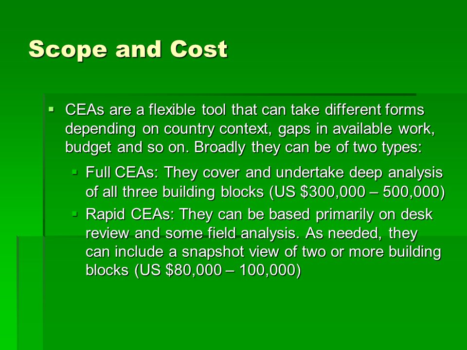 Scope and Cost CEAs are a flexible tool that can take different forms depending on country context, gaps in available work, budget and so on.