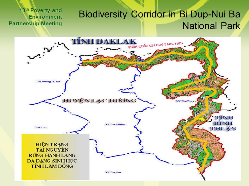 Biodiversity Corridor in Bi Dup-Nui Ba National Park 13 th Poverty and Environment Partnership Meeting