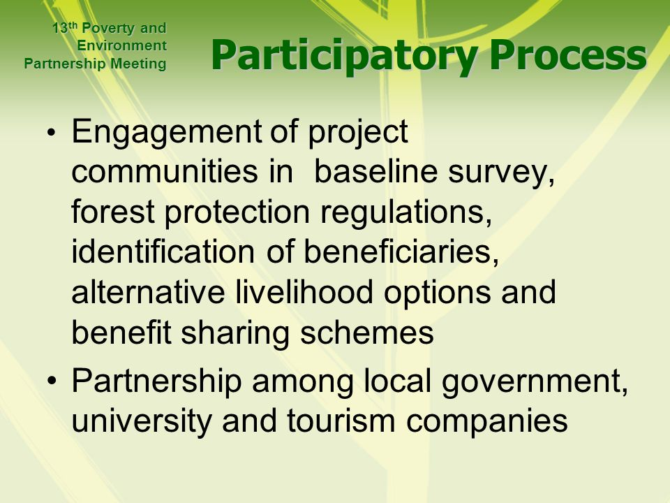 Participatory Process Engagement of project communities in baseline survey, forest protection regulations, identification of beneficiaries, alternative livelihood options and benefit sharing schemes Partnership among local government, university and tourism companies 13 th Poverty and Environment Partnership Meeting